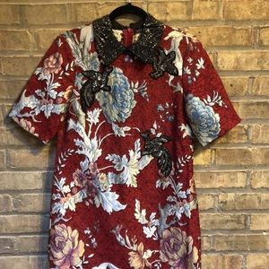 Zara Dresses - NWT 🐉 Zara Jacquard Embellished Collar Dress